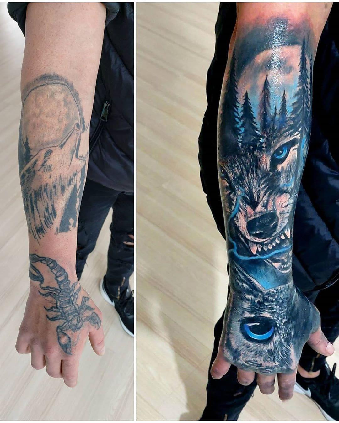20 примеров работы тату-мастеров, которые попытались переделать «партаки» в крутые татуировки