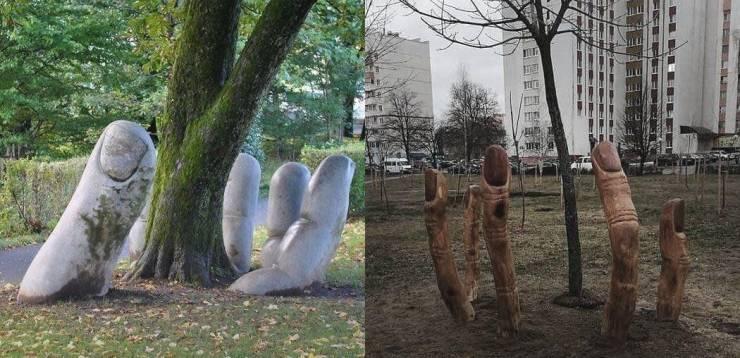 Скульптура у дерева
