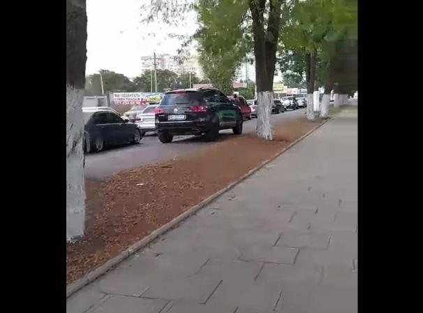 В Одессе заметили бабушку, которая принципиально не давала машинам ехать по тротуару
