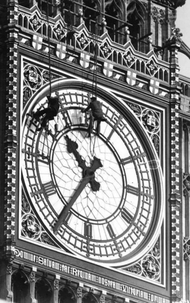 Ремонт часов на башне Биг Бен, 1938 год, Лондон