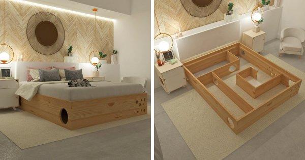 Специальная кровать, под которой расположен домик для котов
