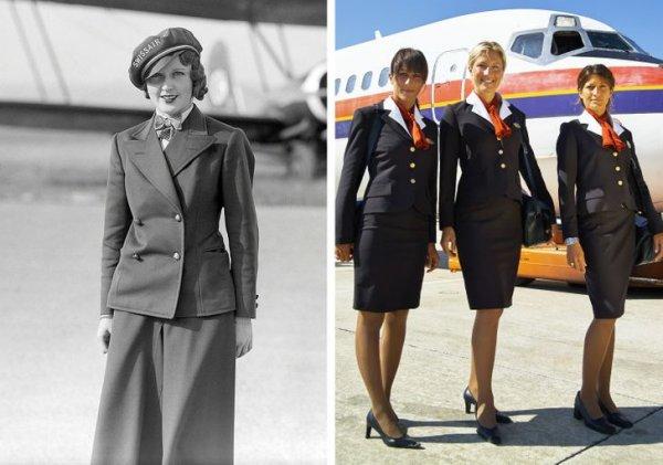 Первая стюардесса в Европе Нелли Динер и ее современные коллеги